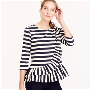 J.crew Striped ruffled blouse!